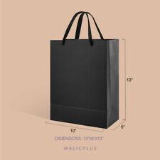 12pcs Gift Black Bag Storage Present Party Large Bag with Handles 10x5x13''