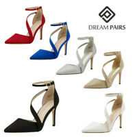 DREAM PAIRS Womens Ankle Strap Pump Shoes High Heel Pointed Toe Pump Dress Shoes