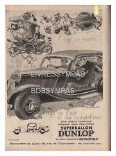 1933 DOCUMENT (ref Eiv 685) PUB  : PNEU DUNLOP  par DELARUE NOUVELLIERE 1p