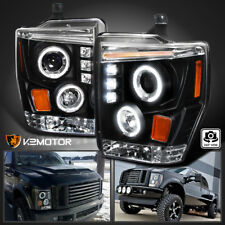 2008-2010 Ford F250 F350 F450 LED Halo Projector Headlights Black