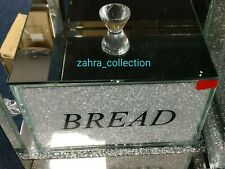 White Crushed Crystal Diamond sparkly  Mirrored Bread Bin  Kitchen Gift New