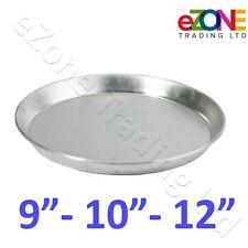 "Aluminium Deep Pizza Pan Baking Tray Dish 9-10-12"", Rim 1.5"" Commercial Quality"