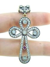 TURKISH HANDMADE JEWELRY 925 STERLING SILVER CROSS TOPAZ PENDANT A41