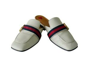 Authentic Gucci Peyton Mules Beige Leather Logo Web Slippers Store tags