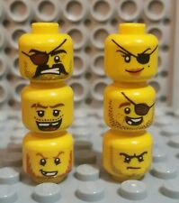 LEGO 6 Pirate Minifigure Heads Yellow Beard/Eyepatch/Girl/Teeth
