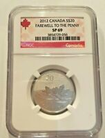 2012 CANADA $20 SILVER NGC SP69 FAREWELL TO THE PENNY ROYAL CANADIAN MINT