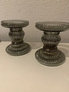 New 2 Smoked Ribbed Glass Pillar Candle Holder+2 Unscented Cream Pillar Candles