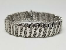 Sterling Silver Bracelet with 240 Diamonds Signed JWBR