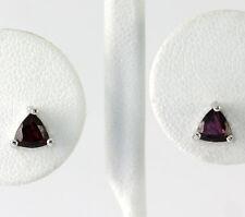 Sterling Silver Fancy Trillion Cut Garnet Stud Earrings