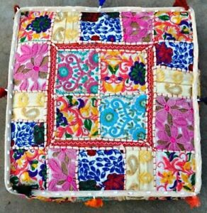 """35"""" Vintage Handmade Square Pouf Cushion Cover Floor Decorative Patchwork Indian"""