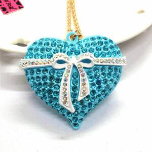 Rhinestone Enamel Blue Bow Love Heart Pendant Betsey Johnson Chain Necklace