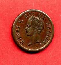(HV 2 AR)  DEMI FRANC HENRI V PRÉTENDANT 1833 ( ESSAI) BRONZE