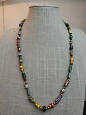 "Antique African Venetian Trade Bead Necklace 45 Beads 26"" OLD Millefiori"