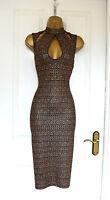 ~ANDRA~ Black Gold Midi Pencil Wiggle Bodycon Evening Party Dress 8 10 12 14 £75