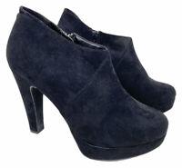 New Look Comfort Black (Real Leather Insock) Block Heel Zip Casual Shoes (8 UK)