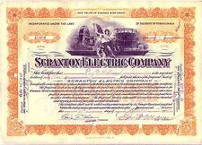 1920's Scranton Electric Company Stock Certificate Pennsylvania