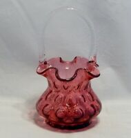 Fenton Glass Cranberry Inverted Thumbprint  Handled Basket