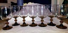 Set of 7 Vintage Amber Crystal Wine Glasses With brown Stems