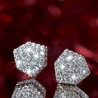 18k yellow white gold 2-tone stud made with Swarovski crystal luxury earrings