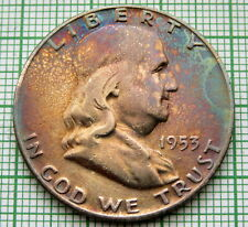 UNITED STATES 1953 D FRANKLIN HALF 1/2 DOLLAR, DENVER, COLOR TONED SILVER