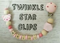 Personalised Wooden Dummy Clip Baby Pink Girl Teddy Bear Natural Love Present