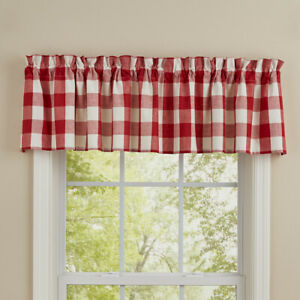 """Wicklow True Red Off White Buffalo Check Country Farmhouse Valance 72"""" x 14"""""""