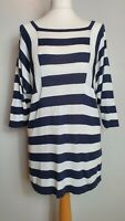 WOLSEY (UK Size 12) Navy & White Striped Long Knitted Jumper Top - Sweater
