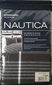 NAUTICA Ventana Grey Standard PILLOW SHAM Black White Plaid