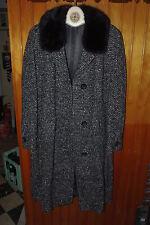 Damen Winter Wolle Mantel ca. 42 Pelzkragen (Nerz?), schwarz- weiß, True Vintage