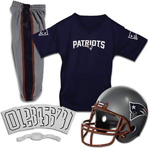 New England Patriots Uniform Set Youth NFL Football Jersey Helmet Costume Large
