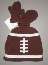 STARTING OUT~~Infant Boys Brown Fleece Football Hat & Mittens Set