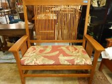 Stickley Mission Spindle Settee Oak Sofa Deacons Railroad bench Couch ... Lot 57