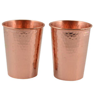 2 X THICKEST 100% Hammered Copper Water Moscow Mule Mug Cup Tumbler Set ,18 Oz