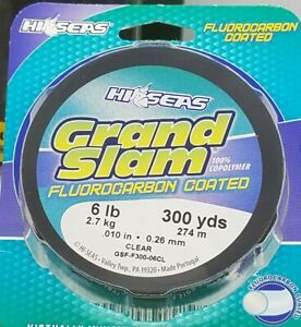 100% Copolymer Fluorocarbon Fishing Line 300 Yds 6 Lb Clear Abrasion Resistant