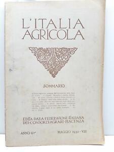 L'Italia agricola Maggio 1930 Federazione italiana consorzi agrari Piacenza