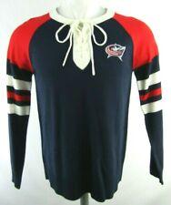 Columbus Blue Jackets Women's Medium Blue & Red Lace Up Collar Sweater NHL