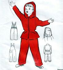 """RARE Vintage 50s GIRLS & BOYS DUNGAREES & JACKET Sewing Pattern UNUSED Chest 26"""""""