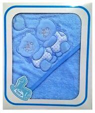 Accappatoio triangolare con cappuccio Nancy baby neonato fondo azzurro orsetto