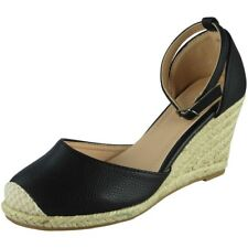 d15d23f849b Womens Ladies Ankle Strap Espadrilles Platform Shoes Mid Heel Wedge Sandals  Size UK 7   EU