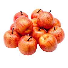 12 X Déco Pommes Grand Ø5 , 5cm, Jaune/Rouge Mat Artificiel, Fruits, Pomme