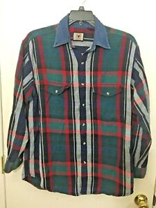 Vintage Halifax Outfitters Long Sleeve Denim Cotton Blue Green Red Shirt Size M