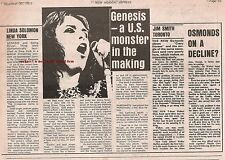 GENESIS in New York 1972 concert review  UK ARTICLE / clipping