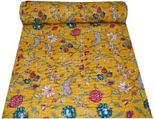 Floral Print Kantha Quilt Twin Size Kantha Cotton Blanket Throw Indian Bedcover
