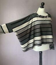 "RALSTON Amazing Striped Stretch Jersey Oversized Lagenlook Top M OSFA 82"" Chest"