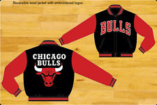 NBA JH Design Chicago Bulls Wool Jacket  New Black and red Color