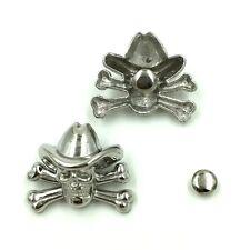 """Pkg of 5 Cowboy Skull Metal Rivet Studs 1-1/8"""" x 7/8"""" Leather Crafts (19367)"""