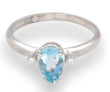 18Ct White Gold Pear Aquamarine Solitaire w/ Diamond Accents Ring (Size M 1/2)