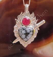 Anhänger Schneeflocken Obsidian und Rubin Sterling Silber 925 Herz mit Schwert