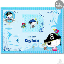 PERSONALISED Childrens Placemat, PIRATE. Boys BLUE Table Saver Mat. Childs Kids