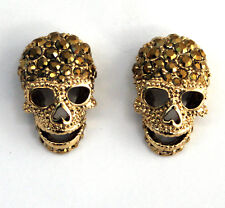 Butler and Wilson LARGE Gold Crystal Skull Studs Earrings NEW